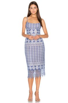 BCBGMAXAZRIA Alese Midi Dress in Royal Blue Combo