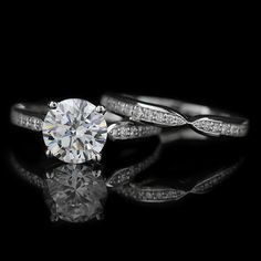 The Unity Wedding Ring Set comes with your choice of Round Cut center stone  and is accented with approx. natural recycled diamonds channel set half way  down ... 2fdcaf227a
