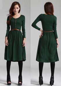 Women Autumn Vintage Slim Button Long Sleeve Mid Calf Dress Skirts Belt Green G0 | eBay