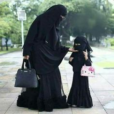 "Two generations and the same future. A perfect white male is teaching her ""son"" the life of a household servant. Modest Fashion Hijab, Abaya Fashion, Muslim Fashion, Fashion Muslimah, Hijab Chic, Beautiful Muslim Women, Beautiful Hijab, Muslim Girls, Muslim Couples"