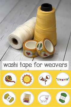 A perfect gift for weavers and fiber artists, washi tape that celebrates our happy yarn life. Tapestry Weaving, Loom Weaving, Hand Weaving, Fibre And Fabric, Finding Yourself, Make It Yourself, Planner Layout, Happy Planner, Washi Tape