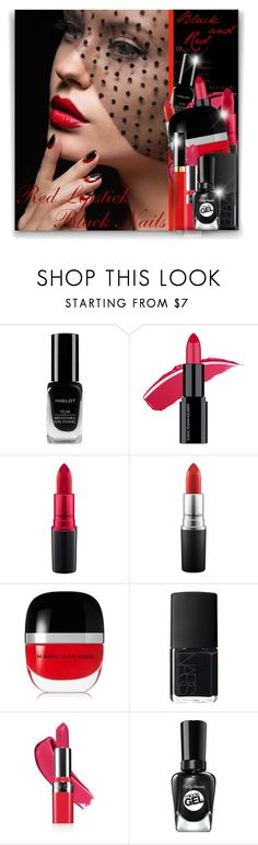 """Black Nails, Red Lipstick"" by elona-makavelli ❤ liked on Polyvore featuring beauty, Inglot, MAC Cosmetics, Marc Jacobs, NARS Cosmetics, Avon and Chanel"