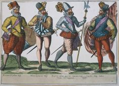Title: Military costumes of the Spanish army: infantryman drummer, flute player legionnaire, military prefect and standard bearer, color engraving Caption: Militaria, Spain, 16th century. Military costumes of the Spanish army: infantryman drummer, flute player legionnaire, military prefect and standard bearer. Color engraving. Photographer: DEA / G. DAGLI ORTI Collection: De Agostini Picture Library