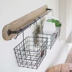 Wall bracket made of wood and metal with 2 wire baskets baskets . Wall bracket made of wood and metal with 2 wire baskets Always wanted to discover how. Decor, Diy Bathroom, Industrial Decor, Farmhouse Decor, Wall Storage, Wall Brackets, Bathroom Decor, Wood And Metal, Small Bathroom Remodel