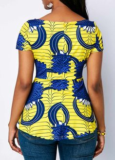 Boat Neck Printed Short Sleeve Blouse Boat Neck Printed Short Sleeve Blouse - Trend Way Dress African Fashion Ankara, African Fashion Designers, Latest African Fashion Dresses, African Print Dresses, African Blouses, African Tops, African Shirts, African Attire, African Wear