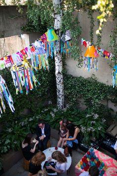 TDFOH opening night event. Courtyard decorations by Marsha Golemac using Marimekko fabric.  Photo - John Deer.