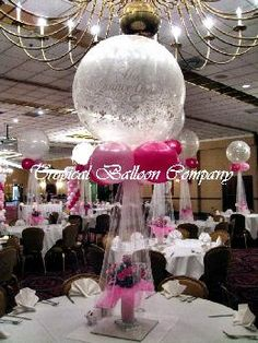 Clear Jumbo balloons with tulle Centerpieces ~ cute!