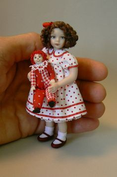 1:12 Scale Dollhouse Girl Doll With Her Clown Toy by Debbie Dixon-Paver