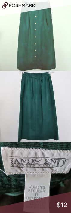 Green corduroy skirt Vintage corduroy. Quality green button down skirt by Lands End. Vintage size 8 runs small. I'd call it a modern size small- made to sit high at waist. Also available in black and duty rose. Measurements on last pic. Lands' End Skirts