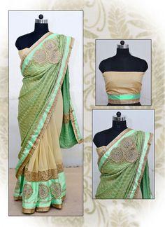 Party Cream and Sea Green Classic Designer Saree