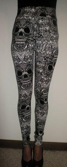 High Waisted Black and White Skulls Leggings Also by kalypsoblue, $25.00