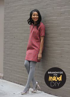 @Alison Cook Stouraites Fabrics loving this DIY dress with houndstooth fabric.