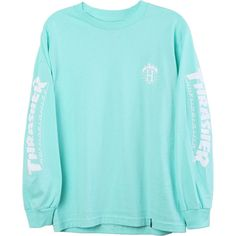 HUF Thrasher TDS Long Sleeve ($36) ❤ liked on Polyvore featuring tops, shirts, long-sleeve shirt, blue long sleeve shirt, shirt top, long sleeve shirts and huf