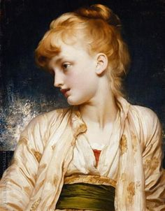 Gulnihal Frederic Leighton (English, Oil on canvas. Leighton, known in part for his portraits of young ladies, such as Gulnihal, received his artistic training on the European. Famous Art Paintings, Popular Paintings, Oil Paintings, Portrait Paintings, Portraits, Frederick Leighton, Art Nouveau, Trending Art, Popular Artists