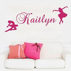 Wall Decal Name Personalized Custom Decals Ballet Dancing Dancer Ballerina Vinyl Sticker Home Decor Art Mural Girls Room Decor Nursery OP41 -- You can find more details by visiting the image link.