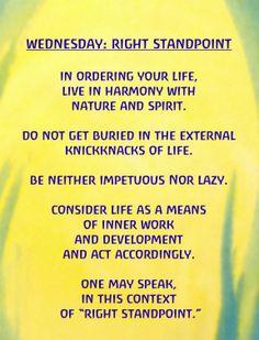 Waldorf ~ Rhythm ~ Wednesday: Right Standpoint