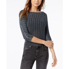 Free People Boomerang Cotton Boat-Neck Sweater ($98) ❤ liked on Polyvore featuring tops, sweaters, black, three quarter sleeve tops, free people sweater, thick cotton sweaters, thick sweaters and free people tops