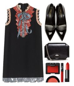 """""""The Bow"""" by genuine-people ❤ liked on Polyvore featuring Yves Saint Laurent, Givenchy, NARS Cosmetics, Bobbi Brown Cosmetics, black and red"""