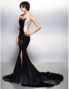 Mermaid / Trumpet Sweetheart Court Train Charmeuse Formal Evening Dress with Beading by TS Couture® – USD $ 435.00