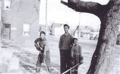 Playing Hockey, c. 1940 - This photo was taken at the back of Ontario Laundry, which was on Celina at Athol. Pictured here are 3 uncles of Brenda Joy Lem (photo source): George (the oldest), Uncle Edward (middle), and Uncle Norm (the youngest). Ontario, Hockey, Laundry, Old Things, Middle, Joy, History, Gallery, Pictures