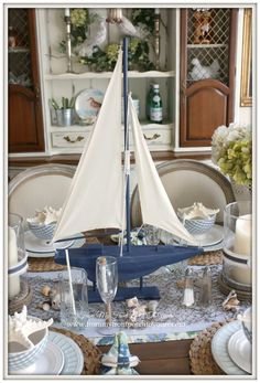 Nautical Dining Room- Table Setting-From My Front Porch To Yours