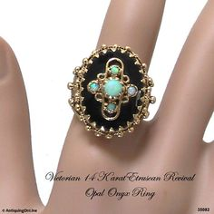Victorian Etruscan Opal Onyx Ring 14K Etruscan Revival Ring