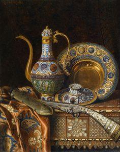 "stilllifequickheart: "" Max Schödl Still Life with Oriental Antiques 1886 "" Goldscheider, Arabian Art, Islamic Paintings, Turkish Art, Still Life Art, Arabian Nights, Still Life Photography, Beauty Art, Islamic Art"