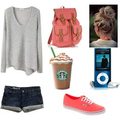 Airport Outfit. Change the vans and the starbucks for flip flops and an ice tea and with brown hair rather than blonde and this outfit would have my name written all over it!