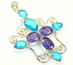 Fantasy Sapphire Sterling Silver Pendant