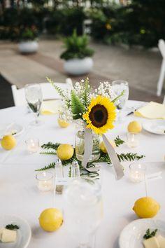 Sunflower, Fern and Lemon Wedding Centerpieces