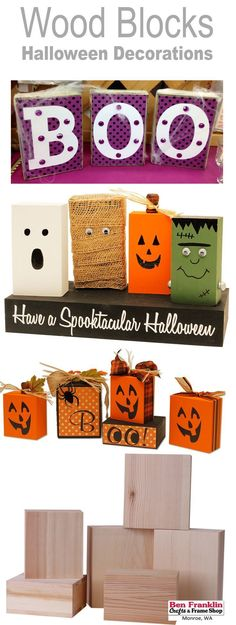 3 DIY HALLOWEEN BLOCK DECORATIONS  Wonder what to do with unfinished wood blocks? We have 3 DIY projects on our blog: https://benfranklincraftsmonroe.blogspot.com/2016/10/wood-blocks-vinyl-halloween-decorations.html #HalloweenDecorations #DIY #crafts #cra