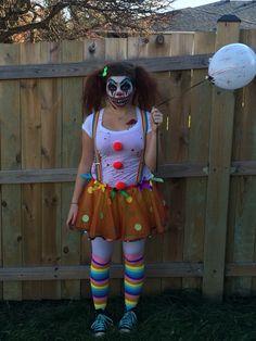 Halloween - homemade clown costume/creepy makeup.