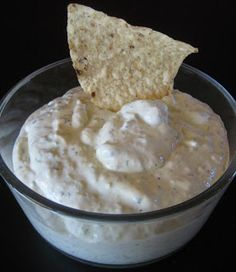 Creamy Roasted Hatch Chile Dip 2-3 roasted Hatch green chiles, seeded 1 brick of cream cheese(6-7 oz prob enough) 1/2 cup sour cream 1/4 cup cilantro (Used 1 tsp of dried) 1/4 cup milk (add more milk to make salad dressing) juice from a lime 1 clove garlic salt to taste  Broil  chilis in oven about 15 minutes. Peel off blackened skin. Toss ingredients in blender. Eat til you explode.