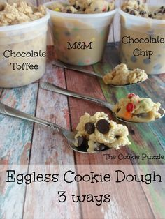 The Cookie Puzzle: Eggless Cookie Dough ways) Edible Cookie Dough Just Desserts, Delicious Desserts, Dessert Recipes, Yummy Food, Tasty, Sweet Desserts, Raw Recipes, Raw Desserts, Dessert Ideas