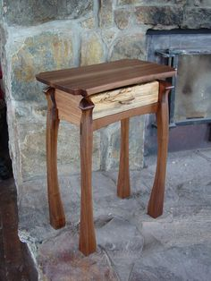 Walnut and spalted maple side table. www.hickswoodworking.com I'm diggin those legs