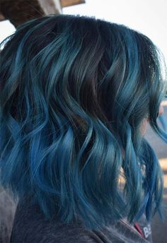 Popular Short Blue Hair Ideas in 2019 Ombre Hair dark blue ombre hair Short Blue Hair, Dark Blue Hair, Dyed Hair Blue, Blue Ombre Hair, Short Hair Cuts, Blue Hair Balayage, How To Dye Brown Hair Blue, Short Hair With Color, Smokey Blue Hair