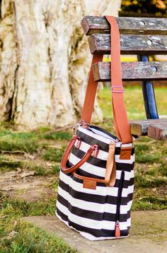 Amazon.com : Diaper Bag by Hip Cub - Plus Matching Baby Changing Pad - Black and White Stripe Designer Cotton Canvas W/ Cute Tan Trim : Baby - cute over the shoulder bags, online purchase of bags, bag in a bag *sponsored https://www.pinterest.com/bags_bag/ https://www.pinterest.com/explore/bag/ https://www.pinterest.com/bags_bag/leather-messenger-bag/ http://www.neimanmarcus.com/Sale/Handbags/cat46520737/c.cat