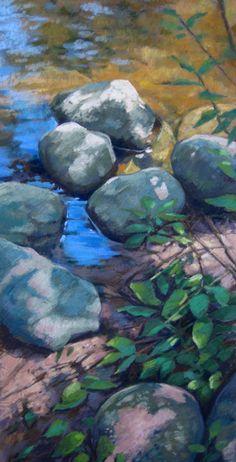 RiverStones XXIII pastel painting by artist Jill Stefani Wagner   www.jillwagnerart.com   Art for sale.