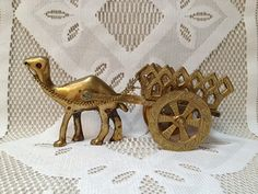 REDUCED Vintage Brass Camel with Cart, Brass Home Decor, Egyptian Decor on Etsy, $22.00