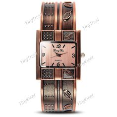 Presell Vintage Red Copper Leaves Decoration Open Bangle Bracelet Quartz Watch Wrist Watch for Lady WWT-376924
