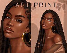 black woman art, black woman clipart, clipart, african american, wall print, digital download, black