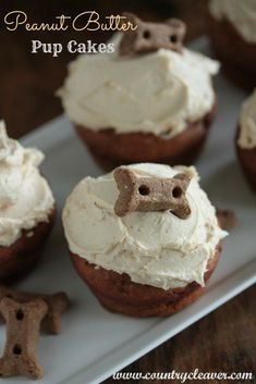 Peanut Butter Pup-Cakes and a BarkBox Giveaway - Healthy Cupcakes for your four legged friend! Yummy for my puppies Dog Treat Recipes, Dog Food Recipes, Cupcake Recipes, Healthy Cupcakes, Pup Cakes, Puppy Treats, Homemade Dog Treats, Cupcake Cakes, Butter Cupcakes