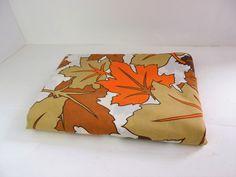 Vintage duvet cover, single / twin, fabric, mid century, orange, brown, autumn…