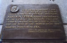 Tesla commemorative plaque on Hotel New Yorker erected July 10, 2001 by the Tesla Memorial Society of New York and Hotel New Yorker.