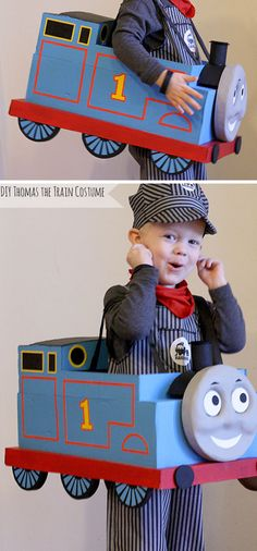Super adorable DIY Thomas the Train Halloween Costume made from a cardboard box! from Little Red Window Super adorable DIY Thomas the Train Halloween Costume made from a cardboard box! from Little Red Window Diy Halloween Costumes For Kids, Fete Halloween, Holidays Halloween, Halloween Crafts, Preschool Halloween, Kid Costumes, Children Costumes, Halloween Stuff, Vintage Halloween