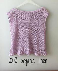 Linen top, Lilac natural top, Hand knitted linen top