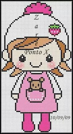 People little girl cross stitch.