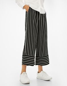 Striped culottes. Discover this and many more items in Bershka with new products every week