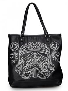 """Star Wars Storm Trooper"" Walking Stitch Floral Denim Tote Bag by Loungefly (Black)"