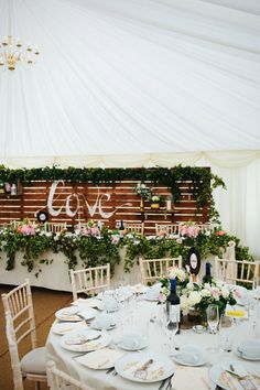 Rustic Palette Top Table Backdrop | At Home Marquee Wedding |  Claudia Rose Carter Photography | http://www.rockmywedding.co.uk/aliki-elliot/
